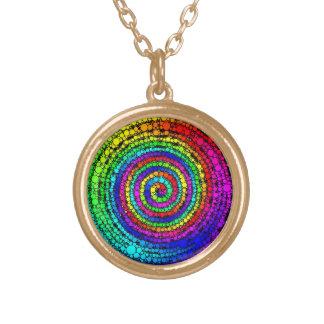 Rainbow Spiral Round Pendant Necklace