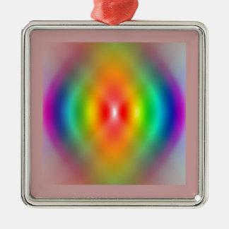 rainbow Spiral Silver-Colored Square Decoration