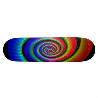 Rainbow spiral skate board deck