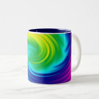 Rainbow spiral Two-Tone coffee mug