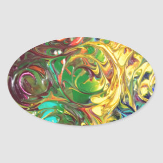 Rainbow Spirals Abstract Painting Oval Stickers