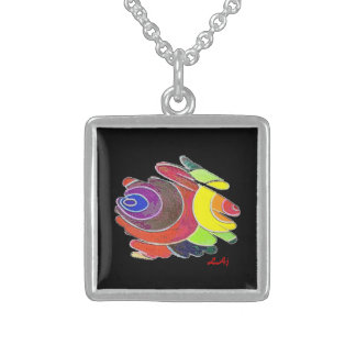 Rainbow Spirals on Black Square Necklace