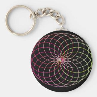Rainbow Spirograph Basic Round Button Key Ring