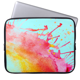 Rainbow Splatter Laptop Sleeve. Computer Sleeves