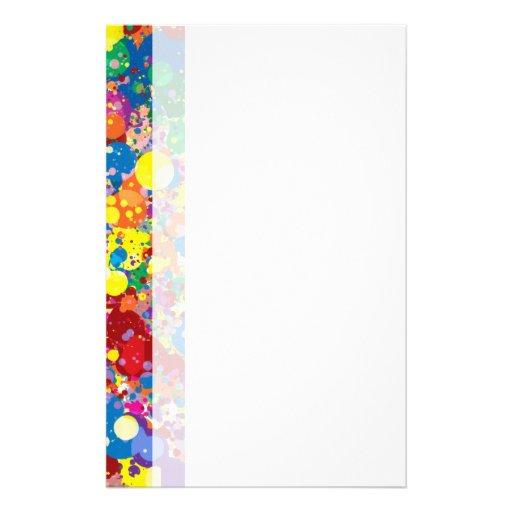 Rainbow Splatter Stationery Design