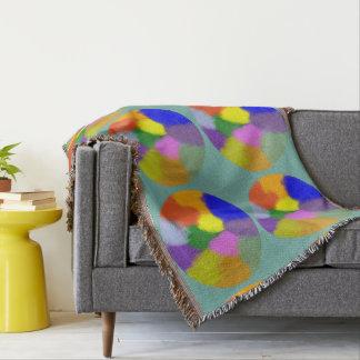 Rainbow Splotch Fringed Throw Blanket