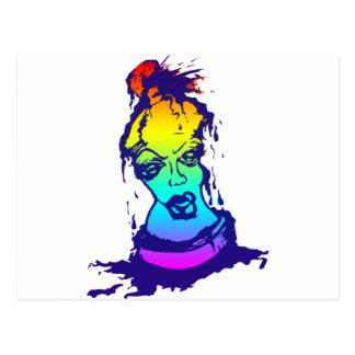 Rainbow Spray Paint Character Postcard
