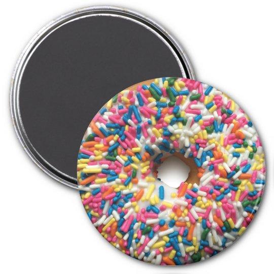 Rainbow Sprinkle Doughnut 3-inch round magnet