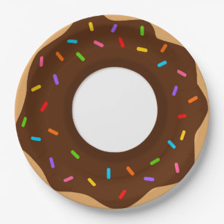 Rainbow Sprinkles Chocolate Donut Paper Plate