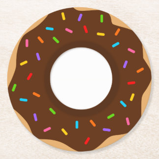 Rainbow Sprinkles Chocolate Donut Round Paper Coaster