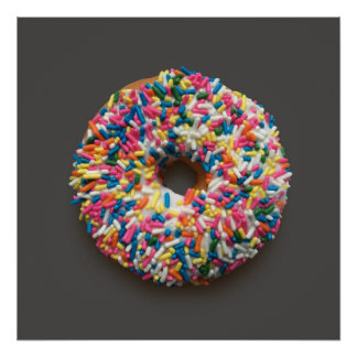 Rainbow Sprinkles Donut poster (on gray)