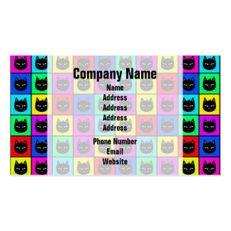 Rainbow Square Cat Pattern Business Cards