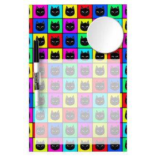 Rainbow Square Cat Pattern Dry Erase Board With Mirror