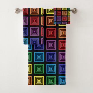 Rainbow Squared Black Bath Towel Set