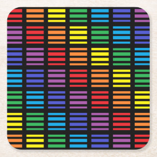 Rainbow Squares and Stripes Black Square Paper Coaster