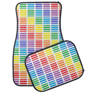 Rainbow Squares and Stripes Car Mat