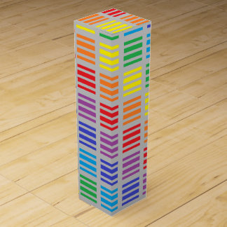 Rainbow Squares and Stripes Silver Wine Gift Boxes