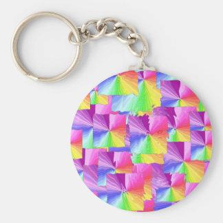 Rainbow Squares Basic Round Button Key Ring