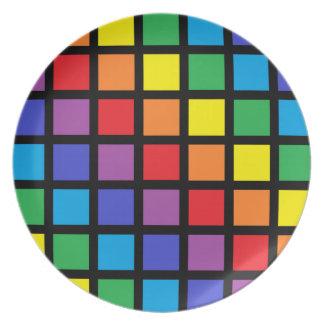 Rainbow Squares Black Plate