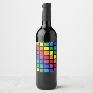 Rainbow Squares Black Wine Label
