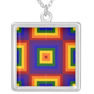 Rainbow Squares Custom Necklace