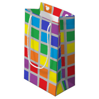 Rainbow Squares Silver Small Gift Bag