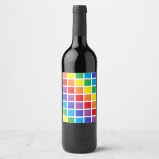 Rainbow Squares Wine Label