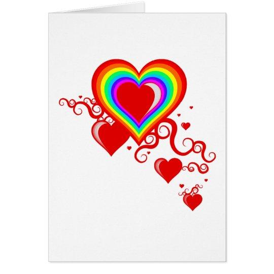 rainbow squiggle hearts card