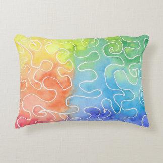 Rainbow Squiggle Watercolour Decorative Cushion