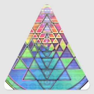 Rainbow Sri Yantra for Love & Wealth Triangle Sticker