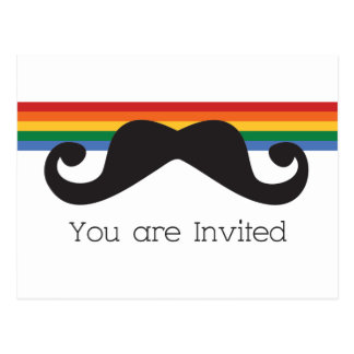 Rainbow Stache Postcard