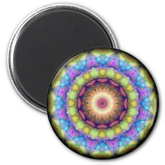 Rainbow stained Glass 6 Cm Round Magnet