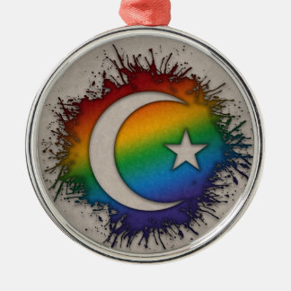 Rainbow Star and Crescent Silver-Colored Round Decoration