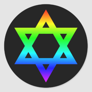 Rainbow Star of David Classic Round Sticker