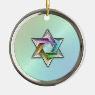 Rainbow Star of David Hanukkah Ornament