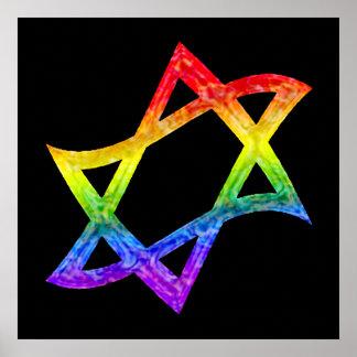 Rainbow Star of David Poster
