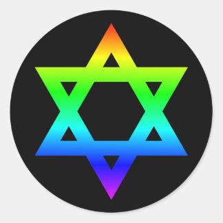 Rainbow Star of David Round Sticker