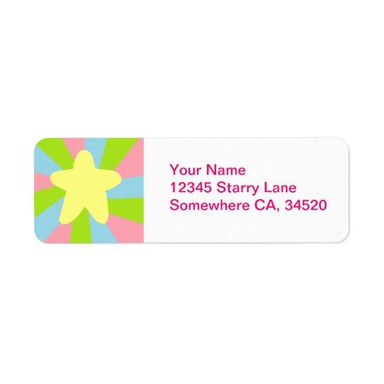 Rainbow Star Return Address Label