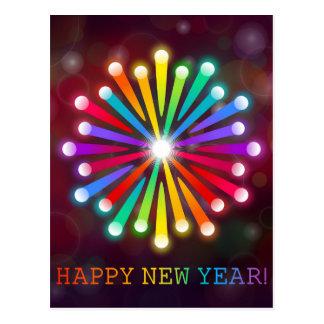 Rainbow Starburst Happy New Year Postcard