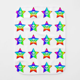 Rainbow Stars and Skulls Forever baby burp cloth