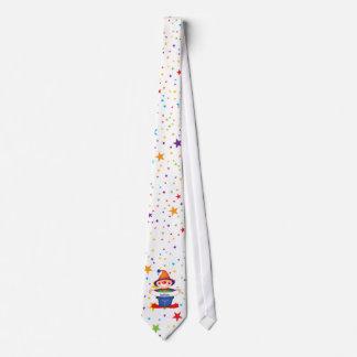 rainbow stars clown tie