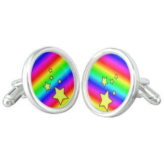 Rainbow Stars colorful Cufflinks