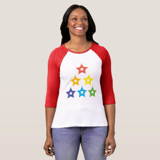 Rainbow Stars LGBT Holiday 3/4 Sleeve Raglan T-Shirt