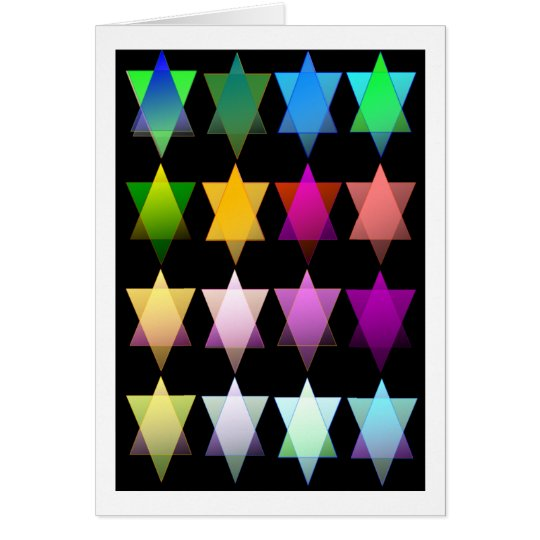 Rainbow Stars of David on Black Card