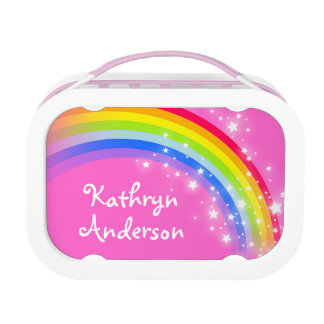 Rainbow stars pink girls name lunch box