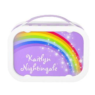 Rainbow stars purple girls name lunch box