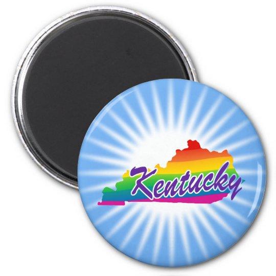 Rainbow State Of Kentucky 6 Cm Round Magnet
