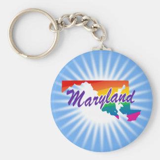 Rainbow State Of Maryland Basic Round Button Key Ring