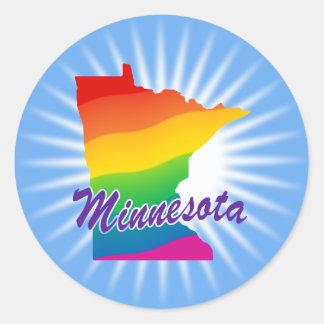 Rainbow State Of Minnesota Classic Round Sticker