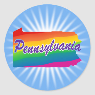 Rainbow State Of Pennsylvania Classic Round Sticker